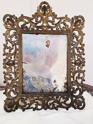 """Nice ! Large Antique 17"""" H Ornate Victorian Brass Table Picture, Mirror Frame,"""