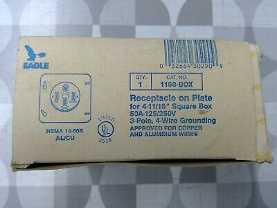 Eagle Electric Cooper Wiring 1168-BOX 50A 125-250V Receptacle **Free Shipping**