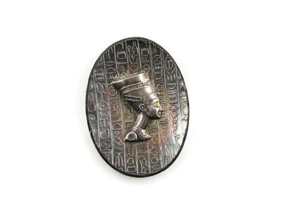 Antique 1920s Egyptian Revival Sterling Silver Brooch Pin Pendant Trombone Clasp
