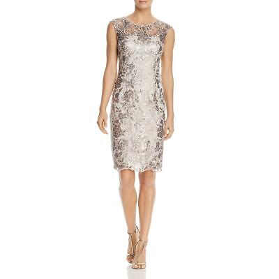 Adrianna Papell Womens Gray Lace Sequined Cocktail Dress 12 BHFO 4639