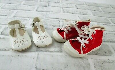 Lot of 2 Vintage Baby Shoes White Leather  Red High Top Canvas Pitter Patter USA