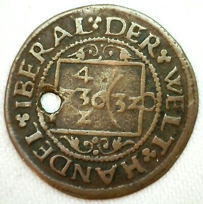 1561 Jetton Medieval Coat of Arms Ingel Wichtma Copper Token Hole in Token