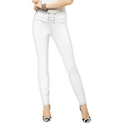 INC Womens White Lace Up High Rise Day to Night Skinny Pants 6 BHFO 7610