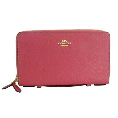 NWT COACH Double Zip Travel Organizer Wallet Planner Card Case Rouge Pink F23334