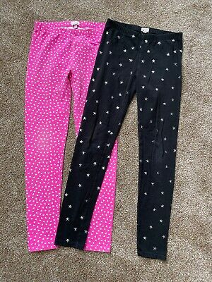 Lot Of 2 Crew Crewcuts Leggings Black Star Pink Heart Cotton Stretch Size 14