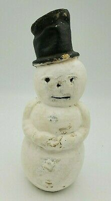 """Vintage Paper Mache Snowman. 1920's. Approx. 8.5"""". ??Candy Container??"""