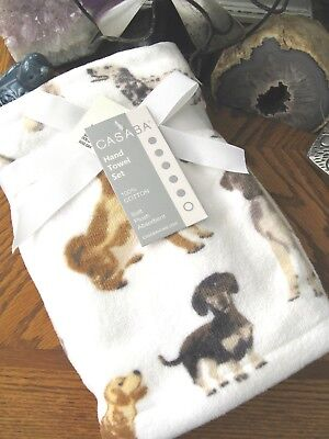 New Dog Theme Bath Hand Towels Set of 2-Dachshund, Bulldog, Dalmatian, Chihuahua