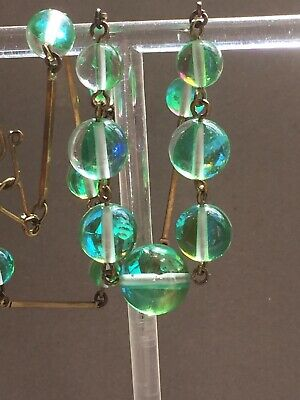 art deco Vintage Style, Green Prism Glass bead necklace
