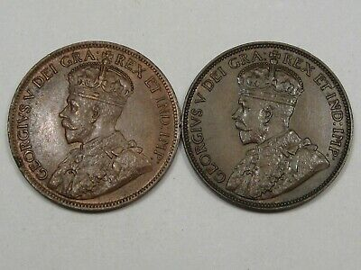 2 XF Canadian Large Cent Pennies (w/ Full Crowns): 1919 & 1920. CANADA.  #137