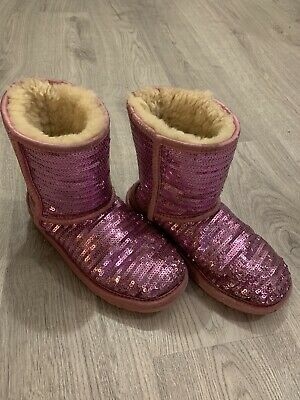 UGG Classic Pink Sequin Snow Boots Girls  Size UK 1