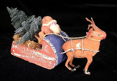 Vintage Clay Faced Santa Claus in Sleigh & Reindeer 1920s Japan CANDY CONTAINER