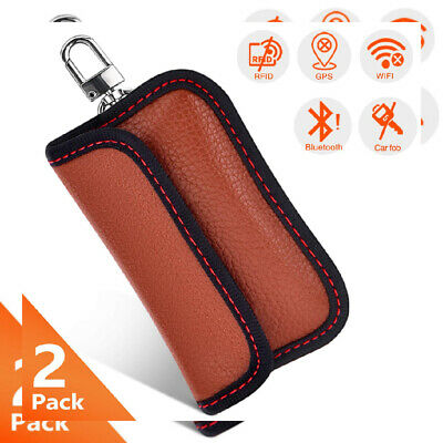SAMFOLK Car Key Signal Blocker Pouch Case (2 Pack) Faraday Bag for S brown