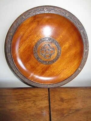 """Wooden Plate 9"""" Polish Carved Copper Wood Inlay Ornate Decorative Wall Decor"""