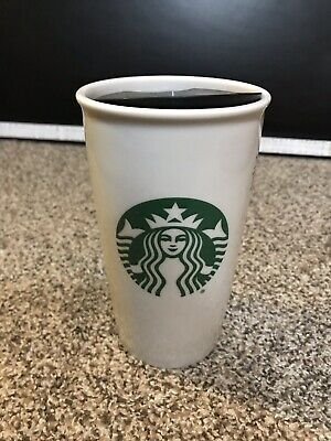 Starbucks Logo Double Wall Ceramic Travel Mug 12 Oz White Tumbler