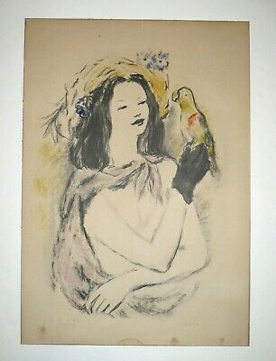 Marcel Vertes original Girl with Parrot SIGNED! dedicated Toulouse Lautrec RARE