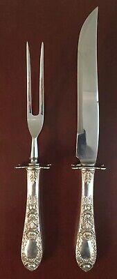 S Kirk & Son Repoussé Silver Sterling Antique Ornate Carving Set Knife Fork Rose