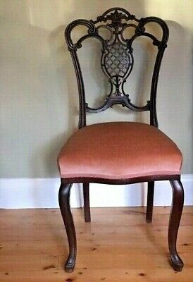 Antique French Victorian Mahogany Art Nouveau Chair Cabriole Legs Pineapple