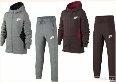 Nike Boys Kids Full Tracksuit Fleece Jacket Bottoms Full Zip Cotton Hoodie