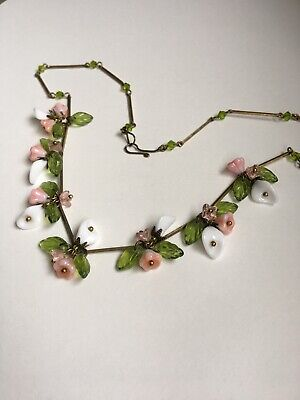 art deco Bohemian Style Vintage Lily Glass Flower bead Necklace Paste