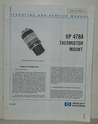 Operating and Service Manual f. Termistor Mount HP 478A / May 1985