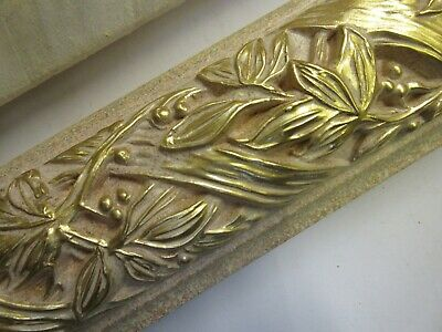 4 x 1m (4m)Ornate Carved Cream & Gold Wooden Picture Frame Moulding 80mm