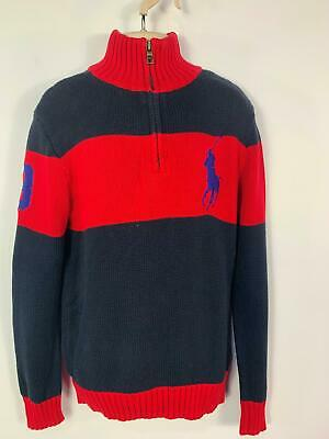 Boys Ralph Lauren Blue&Red Jumper Sweater Crew Neck Pull Over Kids Age 10/12 M