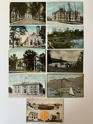 Lot 9 Vintage NY New York Postcards Scenic State Hospital School Hotel Masonic