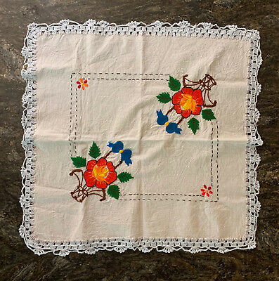 Vintage Crewel Floral Hand Embroidered Tablecloth Wall Hanging Crochet Lace Edge