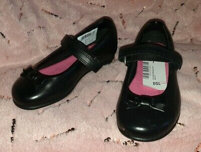 Bnwt Girls Smart Black Leather Shoes, By Clarks, Size Uk 7 F Infant