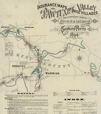 Pawtuxet Valley, Road Island~Sanborn Map© sheets 1884 with 14 maps on CD