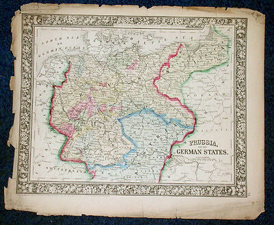 Origial1860 Mitchell Map of PRUSSIA & THE GERMAN STATES