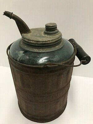 ANTIQUE 1878 QUEEN KEROSENE AND OIL FILLER CAN RIESSNER NY GLASS TIN Primitive