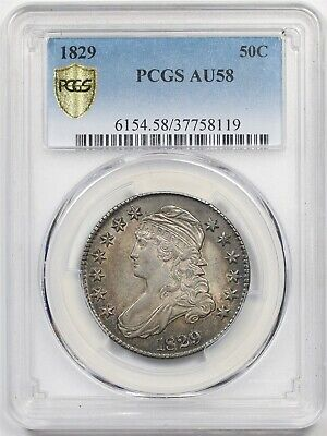 1829 50C PCGS Gold Shield AU 58 Capped Bust Half Dollar
