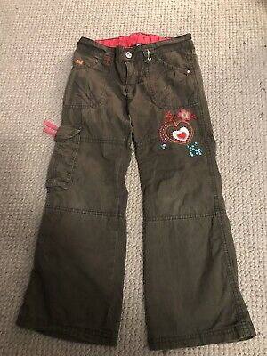 Girls Cargo Trousers Age 6 Yrs Great Condition With Heart Embroidered On Front