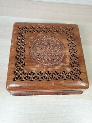 Beautiful Wooden Secrets/Jewellery Box - Intricately Carved Floral Lid