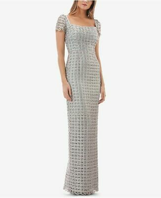 New $540 JS Collections Women's Gray Blue Embroidered Macrame Gown Dress Size 10