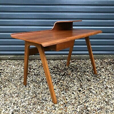 Mid century modern style desk, Bent plywood and walnut, Cornell Desk by Made.com