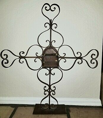 VTG Hand Forged Wrought Iron Cross Mexico Folk Art Rustic Farmhouse Decor