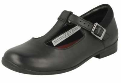 Clarks Girls 'Jamie Sky' Black Leather Smart T-Bar School Shoes - F Fitting