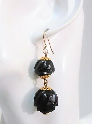 Pair beautiful large antique Victorian carved Whitby jet pendant earrings