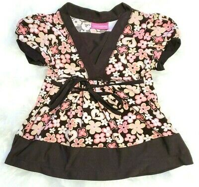 Little Lindsey Baby Girls Size 12 months Floral Dress Brown Pink White Peach EUC
