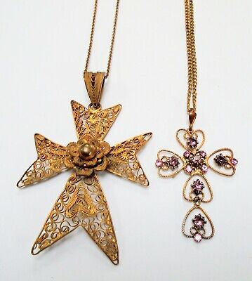 Large antique gold metal filigree & amethyst paste cross pendant + chain + 1