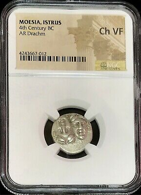 4th CENTURY BC SILVER MOESIA ISTRUS INVERTED HEADS DRACHM EAGLE NGC CHOICE VF