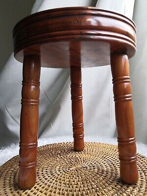 Vintage Fruit Wood 3 Legged Milking Stool Turned Legs Solid Wood Cherry Wood?