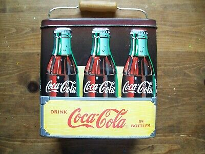 Vintage Coca Cola Rectangular Collectible Tin with Carry Handle.