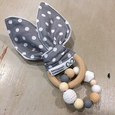 Teether, Natural Teether, Bunny Ears Teething Ring, Large Natural Wood Silicone