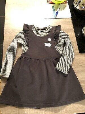 Next Girls Pinafore Dress And Long Sleeve Set 4-5 Years