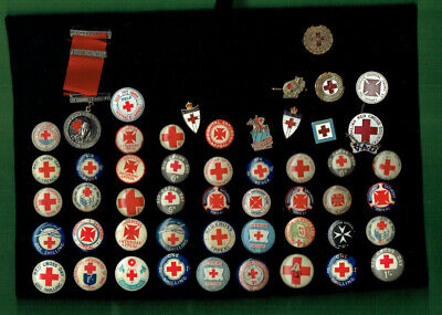 #Uu1.    Lot Of  Fifty (50)  Red Cross  Lapel & Tin Badges