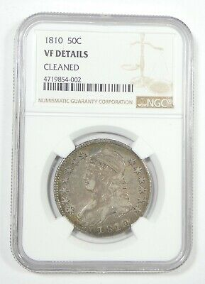 NGC Authentic 1810 Capped Bust/Lettered Edge Half Dollar VF Details Silver 50c