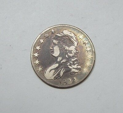 1824 Capped Bust/Lettered Edge Half Dollar FINE Silver 50-Cents